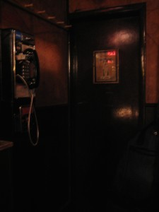 Caffe Vivaldi payphone by restrooms
