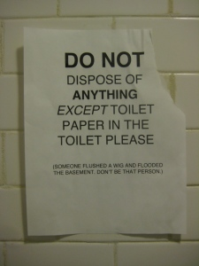 Silvana says DO NOT DISPOSE OF ANYTHING EXCEPT TOILET PAPER